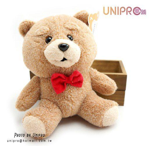 【UNIPRO】熊麻吉 坐姿領結熊 造型絨毛玩偶 娃娃 6吋