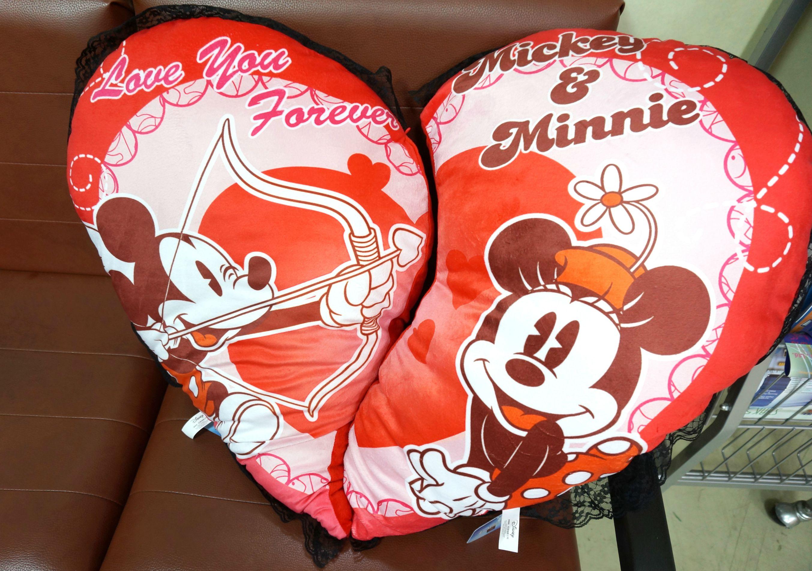 UNIPRO 迪士尼 米奇 米妮 大愛心抱枕 絨毛 情人枕 Love you forever 情人節禮物 小 Mickey Minnie