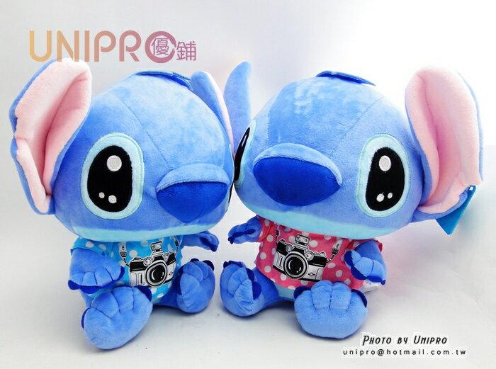 【UNIPRO】迪士尼 正版授權 攝影師 史迪奇 相機T恤 STITCH 12吋 絨毛娃娃 玩偶 生日禮物