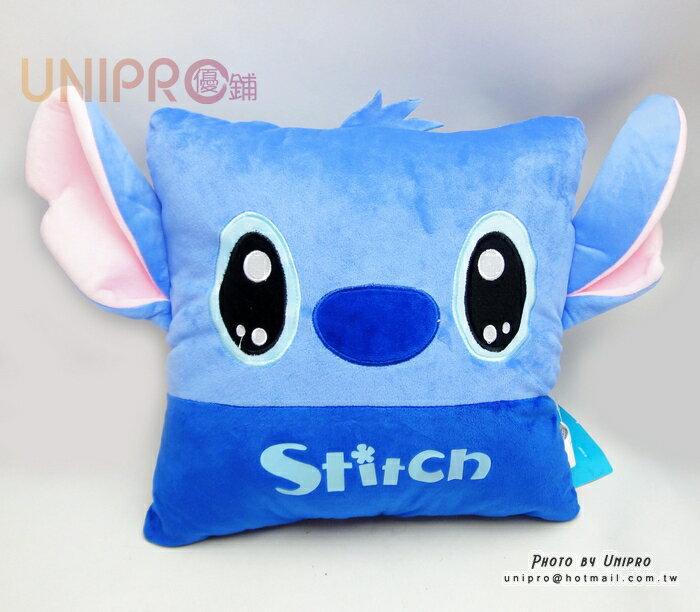 【UNIPRO】迪士尼 史迪奇 造型抱枕 35X40cm 12吋 方枕 四方枕 靠枕 午安枕 抱枕 正版