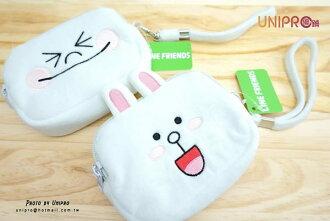【UNIPRO】LINE 正版授權 公仔 娃娃 兔兔 CONY 饅頭人 MOON 絨毛四方零錢包 雙拉鍊 LINE FRIENDS