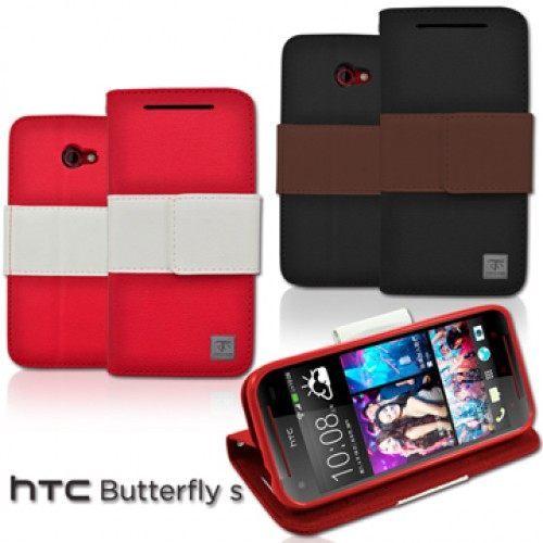 UNIPRO【B010】Metal-Slim HTC Butterfly S 901e 蝴蝶機S 雙色書本站立皮套 真皮手感PU手機殼 內軟