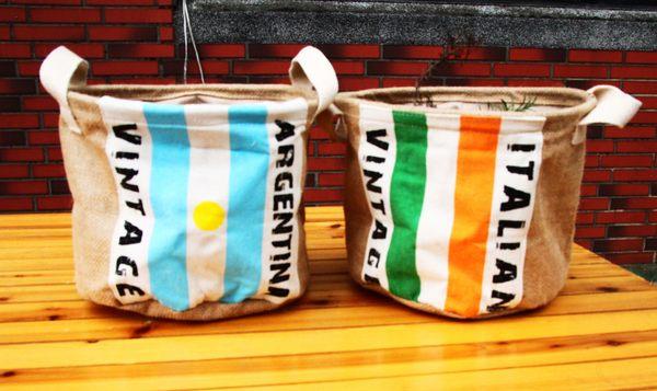 UNIPRO ~L049~日雜風 復古棉麻國旗 雜物收納 玩具籃 盆栽籃 義大利 阿根廷2