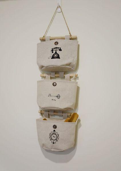 UNIPRO 日雜風 復古棉麻壁掛袋 收納掛袋 木棍 DIY 自由組合 小雜物收納 五款圖案 除舊佈新
