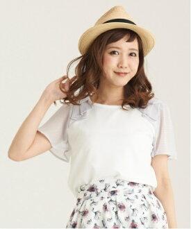 日本東京百貨帶回 ✈ MAJESTIC LEGON 氣質款 蝴蝶雪紡袖拼接上衣 (白)