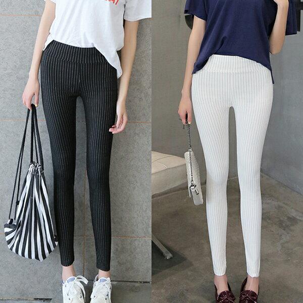 窄管褲 - 直條造型彈性緊身窄管褲【23299】藍色巴黎《4色》現貨+預購 2