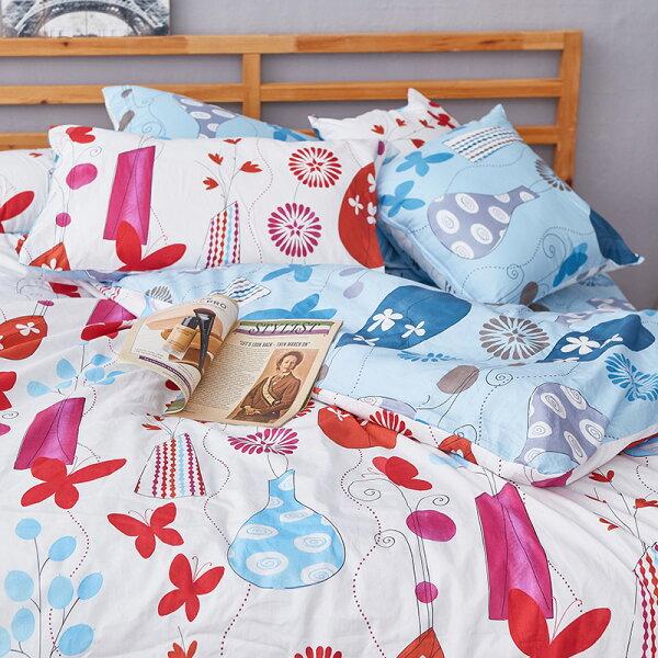 床包被套組單人-100%精梳棉【花都香榭-紅】含一件枕套,戀家小舖,台灣製