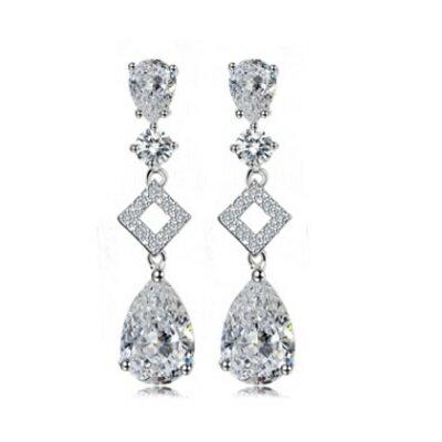 ~純銀耳環鍍白金鑲鑽耳飾~ 優雅氣質方形情人節生日 女飾品73cr98~ ~~米蘭 ~