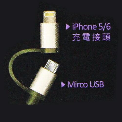 Koopin iPhone  Micro USB 二合一高速2.1A傳輸充電線^(1.5M