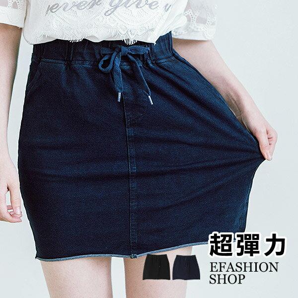 腰抽繩彈力牛仔布短裙-eFashion預【H18330630】