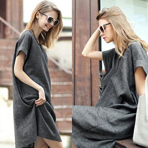 短洋裝 - 圓領簡約設計隱形口袋亞麻寬鬆連衣裙【29094】藍色巴黎-現貨+預購 1