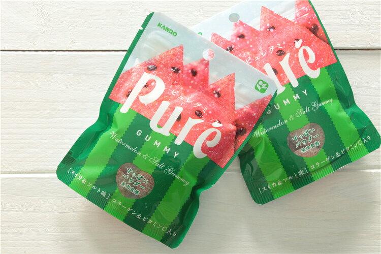 有樂町進口食品 日本進口KANRO PURE 西瓜軟糖 (56g) 4901351059449 0