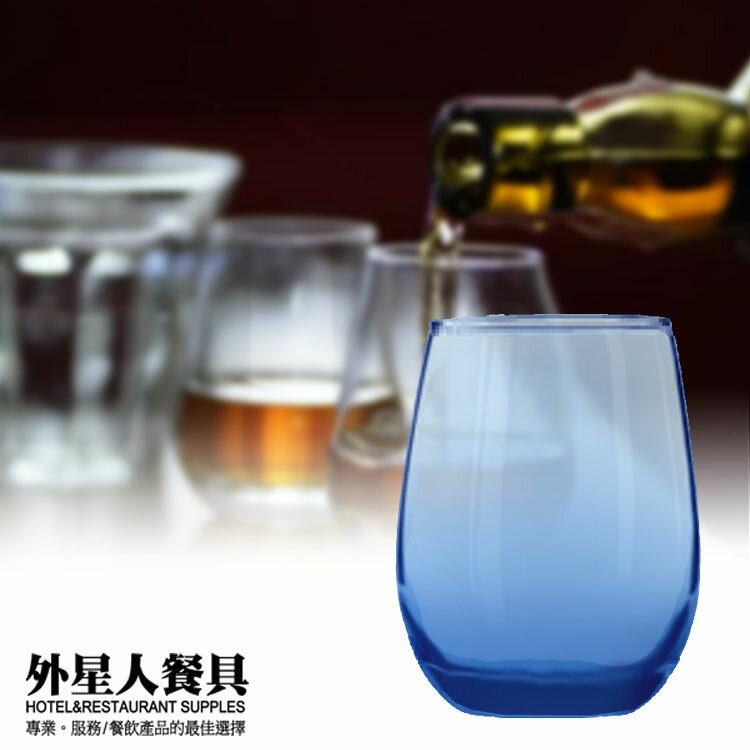 玻璃杯-湛藍無跟厚底酒杯451cc/(6入)酒杯 果汁杯 水杯-外星人餐具