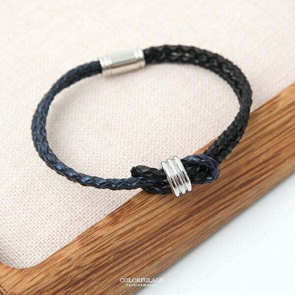 手環真皮黑藍雙色雙線打結皮革手環韓國帶回【NA450】