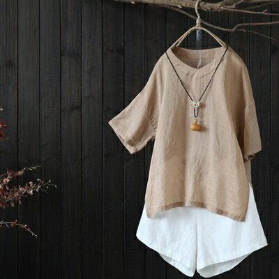 七分袖T恤打底衫-文藝復古純色簡約女上衣73sj97【獨家進口】【米蘭精品】