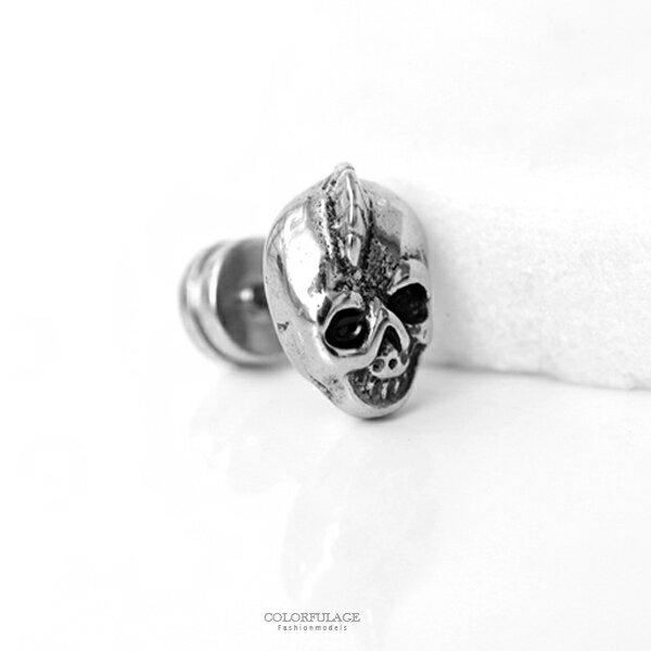 龐克搖滾骷髏頭鋼製耳針耳環【ND465】柒彩年代