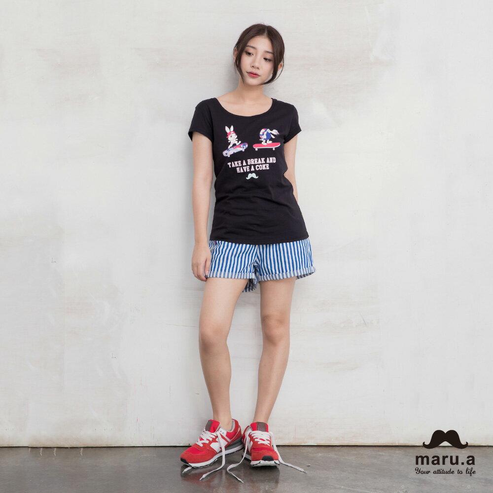 【maru.a】彩色方塊刺繡直條紋短褲(2色)7925112 1