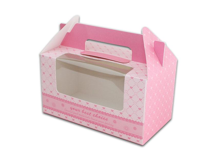 外帶盒、包裝盒、手提盒  2格提盒 MS-2-B(粉色愛心)5 pcs附底托