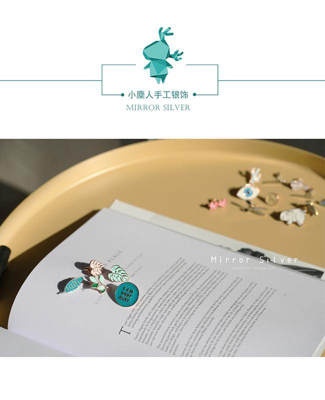 創意可愛清新龜背竹樹葉S925純銀胸針配飾文藝禮物閨蜜友