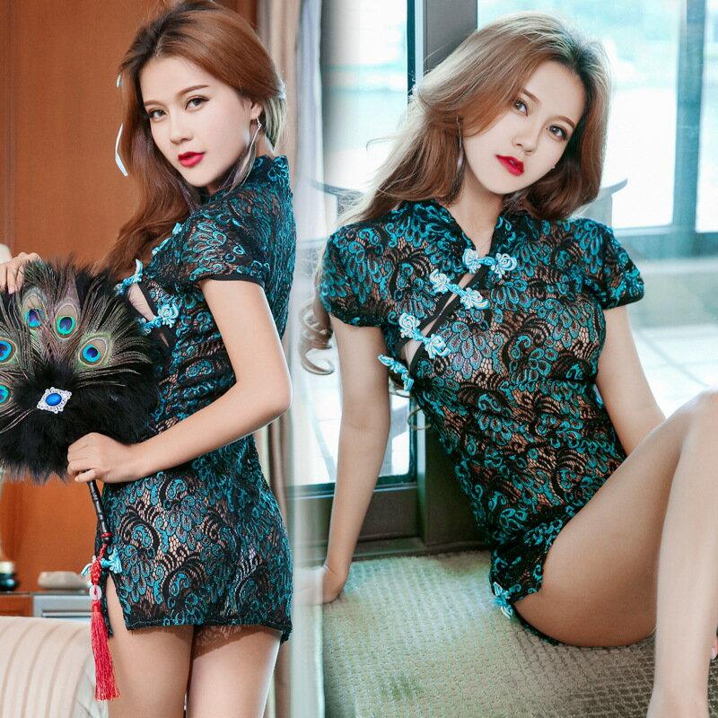 情趣內衣性感誘惑蕾絲透視裝中國風孔雀旗袍連身裙