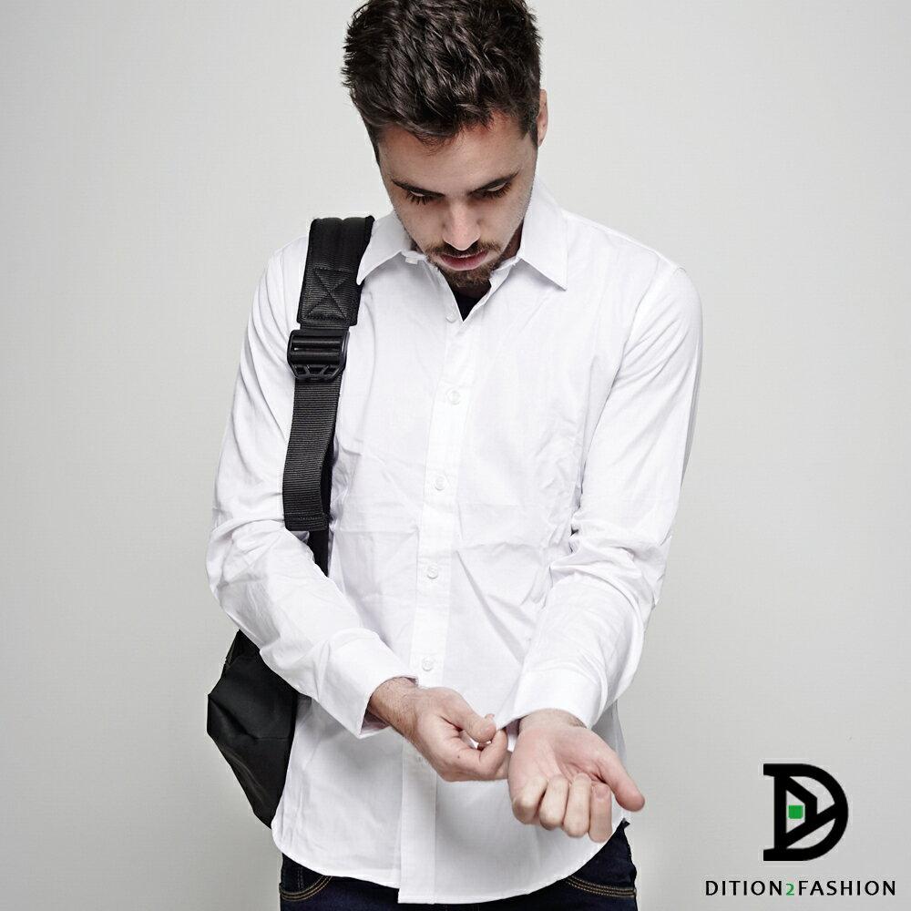 DITION 職人FIT腰身素色長袖襯衫 商務紳士 1