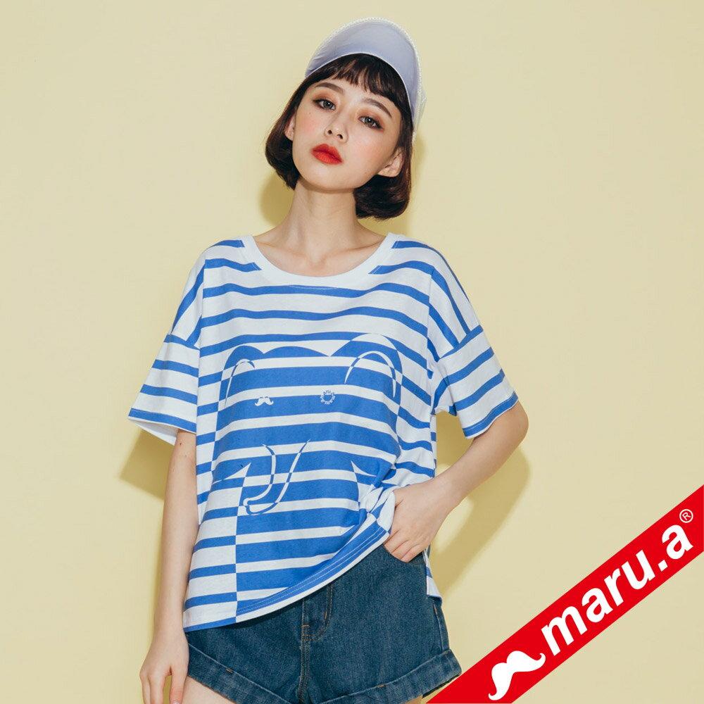 【maru.a】親子裝童趣感小飛象條紋T-Shirt(2色)8321228  /  8351221 3