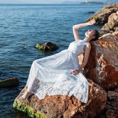 【米蘭秀】【奇珍館】:連身裙無袖洋裝-波西米亞風白色蕾絲飄逸女連衣裙73pu32【獨家進口】【米蘭精品】