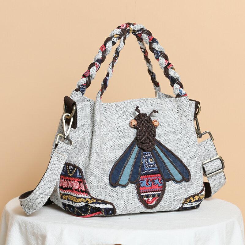 民族風斜背包 新品原創民族風特色工藝編織女士背包大容量休閒手提斜背包