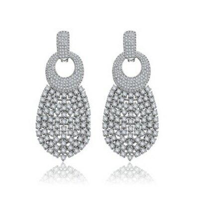 純銀耳環鍍白金鑲鑽耳飾~ 奢華高檔耀眼生日情人節 女飾品73cr340~ ~~米蘭 ~