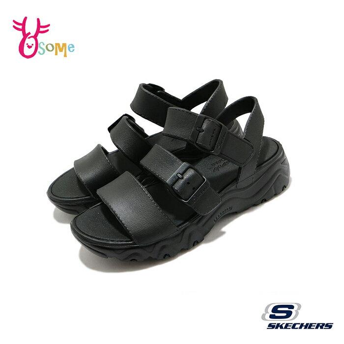 Skechers涼鞋 女涼鞋 D Lites 2 運動涼鞋 健走涼鞋 柔軟Q彈 U8232#黑色◆OSOME奧森鞋業