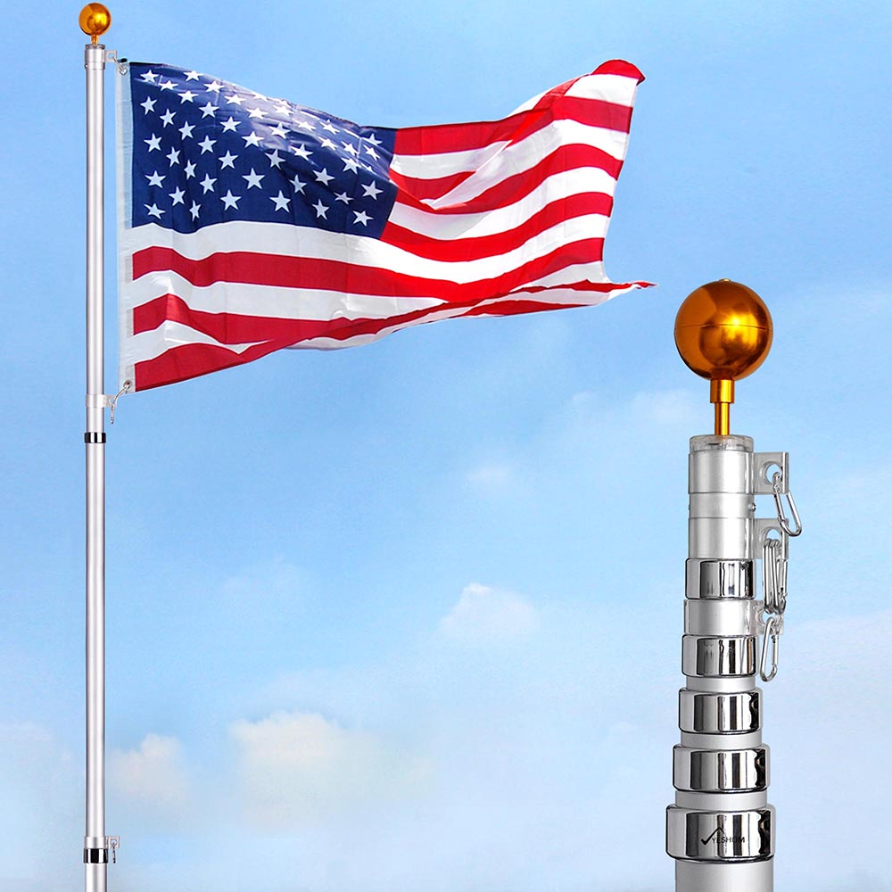 American Flag Pole Kit Wall Mount 6 Ft Spinning 3/'x5/' US Flag Gold Ball Aluminum