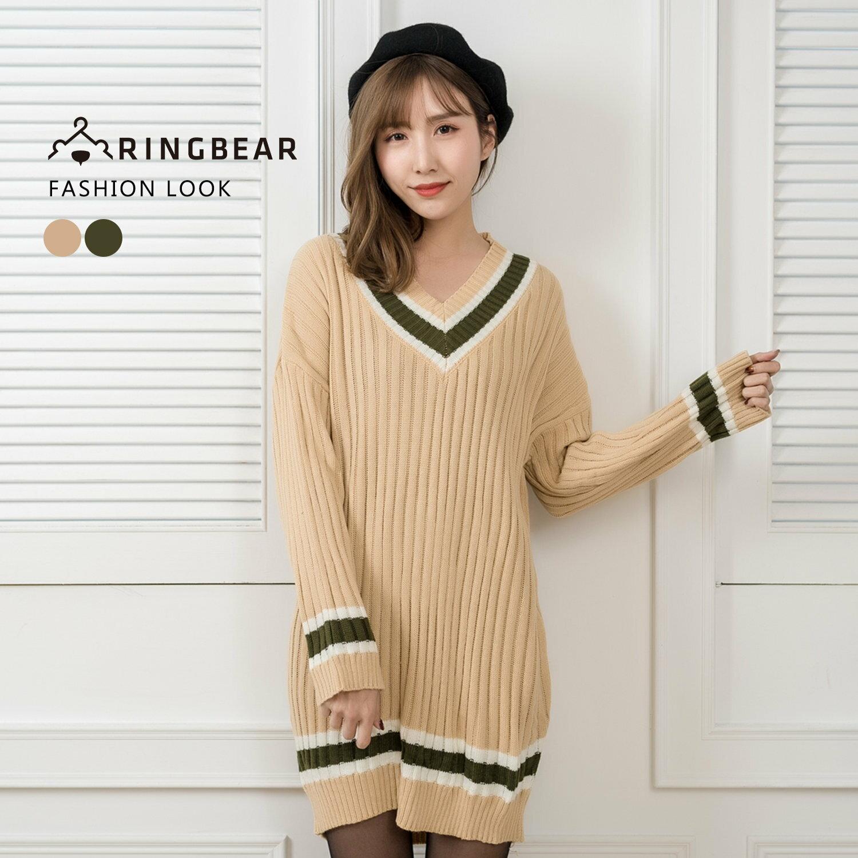針織毛衣--保暖氣質典雅線條V領優雅連袖羅紋針織上衣(綠.杏XL-3L)-X275眼圈熊中大尺碼