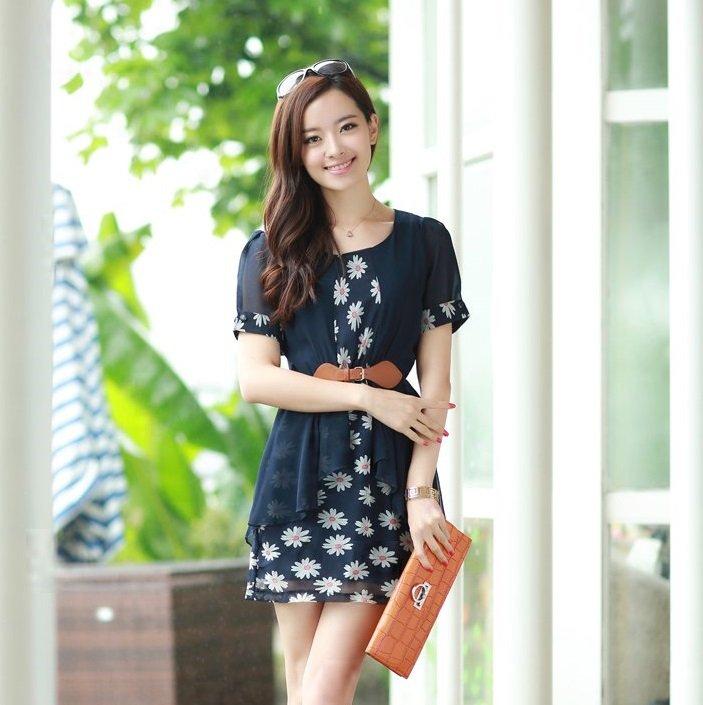 《 任選2件55折》韓版女裝夏季新款碎花雪紡假兩件連身裙 - 限時優惠好康折扣