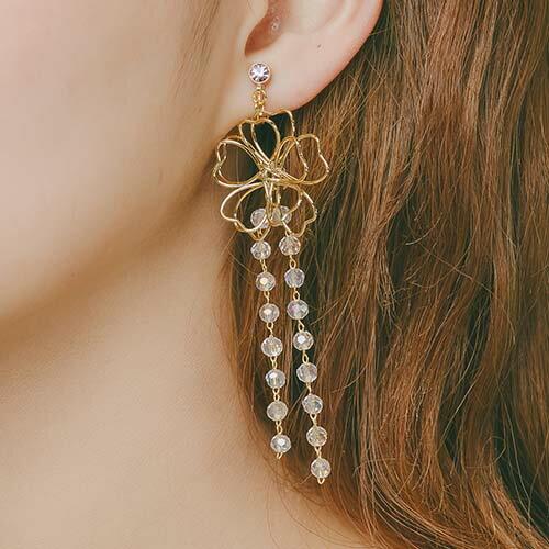 (預購+現貨)雙花綻放。夾式(螺旋夾)針式耳環【2-18004】