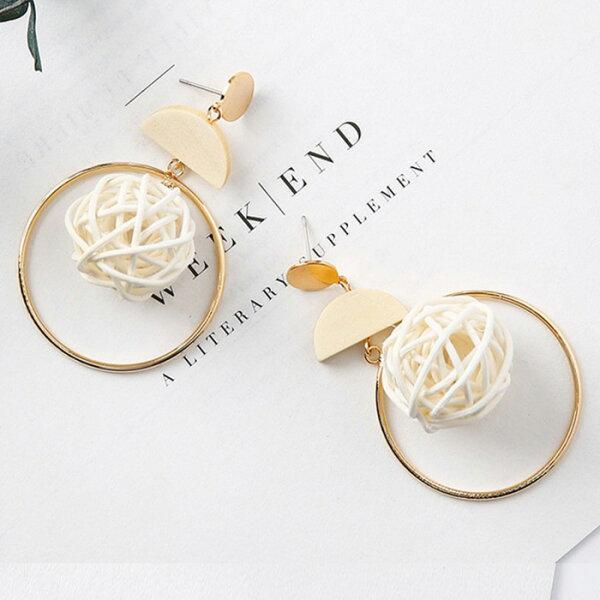 糖衣子輕鬆購【BA0114】手工編織時髦設計大圓圈鳥巢木質耳環耳針耳飾