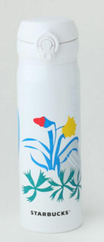 X射線【C210001】日本星巴克不鏽鋼保溫瓶-500ml(白花),環保/隨手瓶/保溫杯/水壺/保冷保溫/2016夏/日本代購