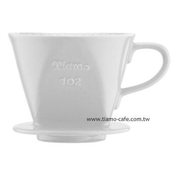 金時代書香咖啡  TIAMO 102 陶瓷 咖啡濾器組 白 附量匙滴水盤  HG5047 - 限時優惠好康折扣