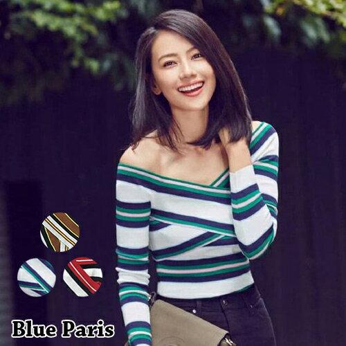 上衣 ~ 條紋撞色交叉一字領針織長袖T恤~29170~藍色巴黎~3色~