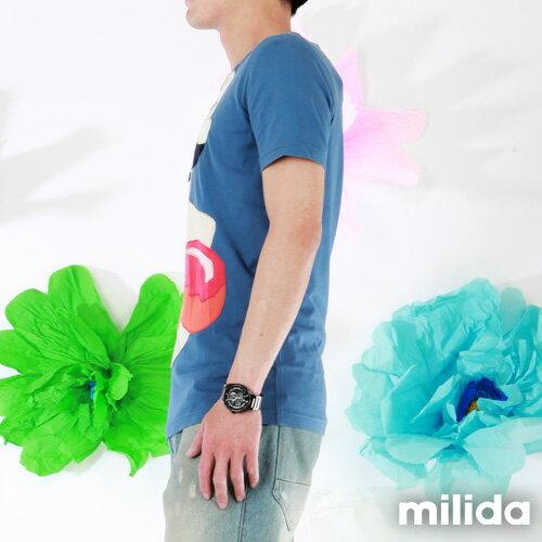 【Milida,全店七折免運】男生款-舒適圓領拼貼T恤 3