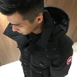 美國百分百【全新真品】Canada Goose 羽絨 夾克 保暖 外套 防風 連帽 口袋 鋪棉 黑色 S號 J611