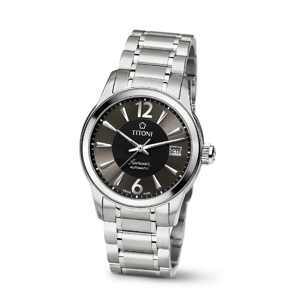 TITONI瑞士梅花錶83933SY-323空中霸王紳士機械腕錶/黑面38mm