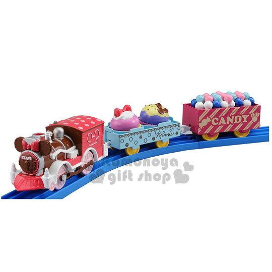 〔小禮堂〕迪士尼 米妮 造型連結火車玩具組《咖啡紅.火車頭.糖果點心.盒裝》
