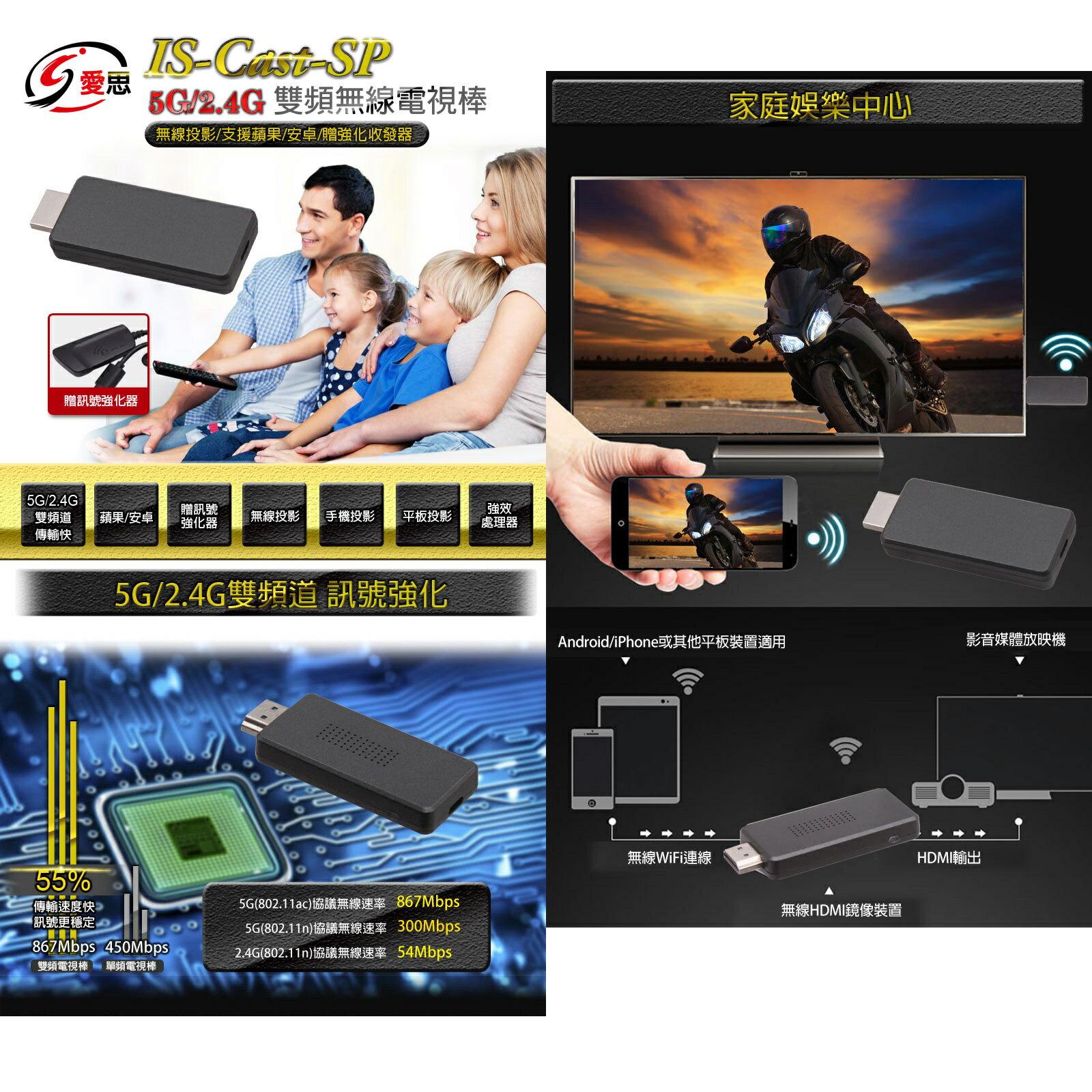ISCAST-SP雙頻無線電視棒 5G/2.4G 訊號強化蘋果/安卓 無線傳輸