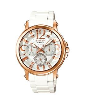 CASIO SHEEN SHE-3035-7A閃星星彩時尚腕錶/白色38.4mm