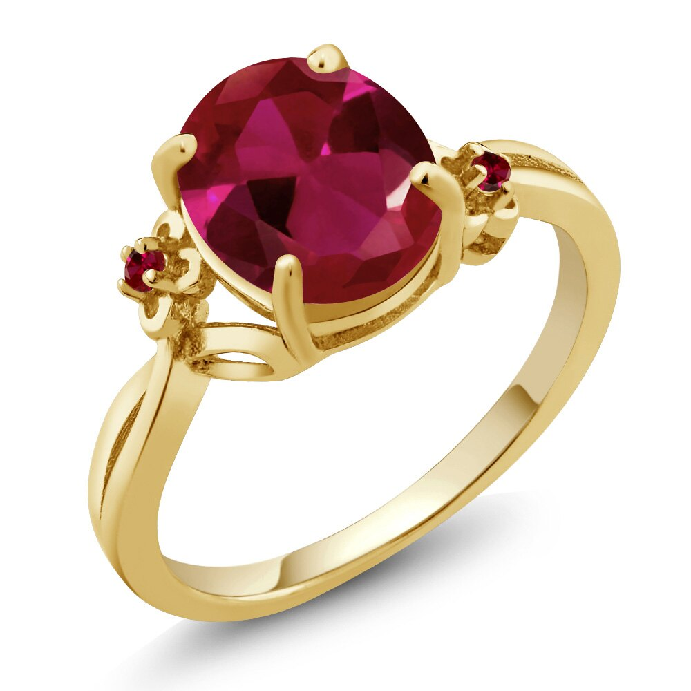 2.53 Ct Oval Red Created Ruby 14K Yellow Gold Ring 0