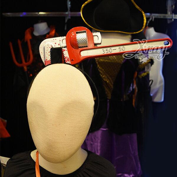 X射線 精緻禮品:X射線【W020007】搞怪穿頭汽車板手髮箍,萬聖節派對用品舞會道具cosplay角色扮演頭飾髮帶髮圈表演跨年演唱會惡作劇
