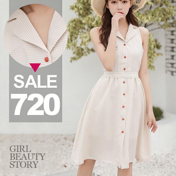 SISI【D8079】復古異想世界格紋V翻領無袖高腰縮腰修身單排扣大裙襬連身裙洋裝