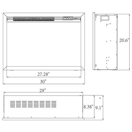 "30"" Electric Fireplace Heat Tempered Glass Freestanding Logs Insert Adjustable 5200 BTU AKFP0029 1"