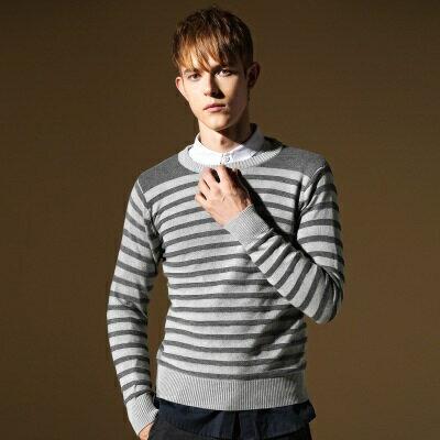 針織毛衣長袖針織衫-簡約迷人線條造型男上衣色2色73ik60【獨家進口】【米蘭精品】