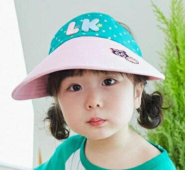 Lemonkid◆可愛活力滿版星星LK字母質感立體刺繡大帽沿透氣空頂遮陽帽-粉色帽沿